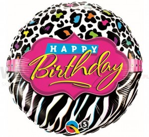 "Balon foliowy 18'' ""Happy Birthday, leopard zebra"""