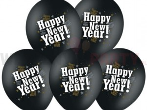 "Balon 14"" czarny  z nadrukiem ""Happy New Year"""