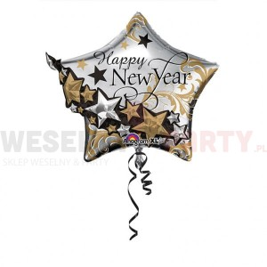 "Balon foliowy 24x27"" gwiazda ""Happy new Year"""