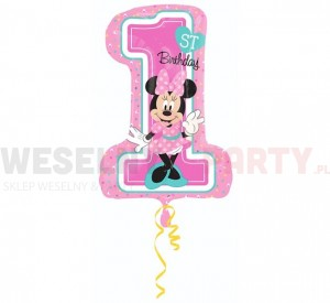 "Balon foliowy 19""x28""  ""Minnie Mouse 1st Birthday"""