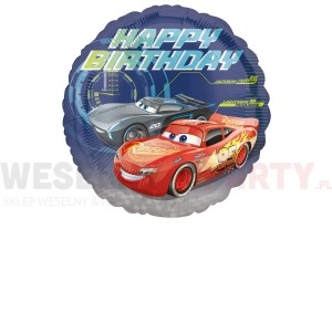 "Balon foliowy 18'' ""Cars, Happy Birthday"""