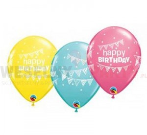 "Balon 14"" mix kolorów "" Happy Birthday Pennants & Dots"""