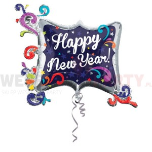 "Balon foliowy 34""x29"" ""Happy New Year"" kolorowy"