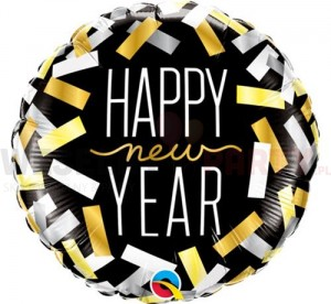 "Balon foliowy 18"" ""Happy New Year, konfetti"""