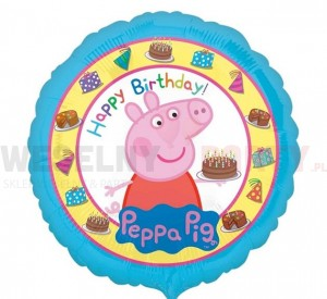 "Balon foliowy 18'' ""Peppa Pig Happy Birthday"""