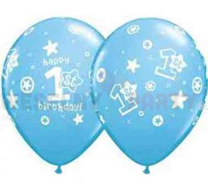 "Balony  pastel niebieski 11"" ""1st Happy Birthday"""