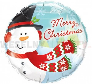 "Balon foliowy 18"" ""Merry Christmas Snowman"""