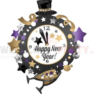 "Balon foliowy 30x35""  ""Happy New Year"" zegar"