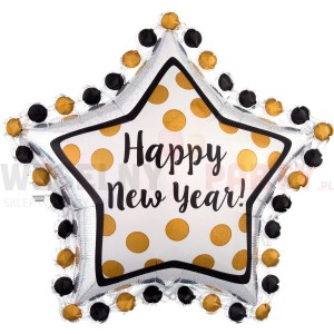 "Balon foliowy 30x30"" gwiazda ""Happy New Year"""