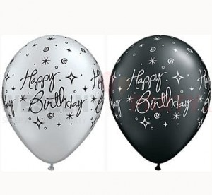 "Balony 14"" metalik ""Happy Birthday"" srebrny, czarny"