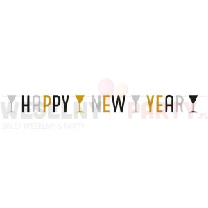 "Baner  metalik ""Happy New Year"" kieliszki"